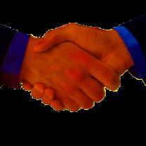 Mäklare och köpare skakar hand