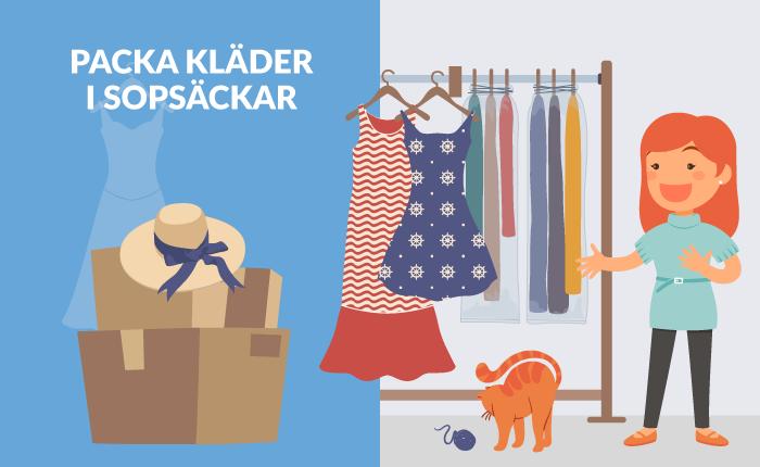 Flyttpacka kläder i sopsäckar