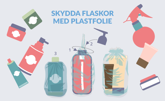 Flyttpacka flaskor med plastfolie