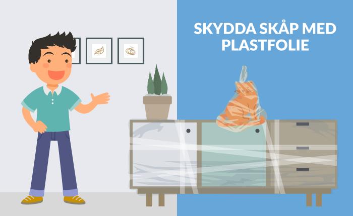 Plastfolie skyddar möbler vid flytt